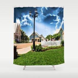 Avonlea Village Under A Dramatic Sky Shower Curtain