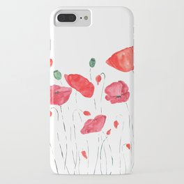 red and orange poppy field iPhone Case