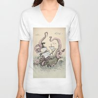 kraken V-neck T-shirts featuring Kraken by Stephanie Dominguez Art Shop