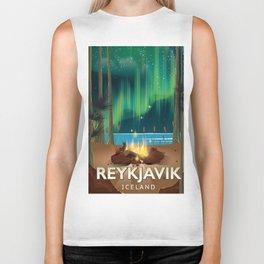 Reykjavik Iceland travel poster Biker Tank