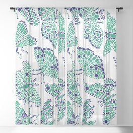 Butterfly Pattern Green Navy White Sheer Curtain