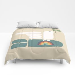 Peace dove and rainbow bomb Comforters