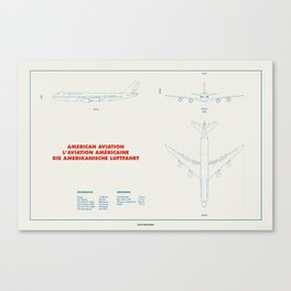 Boeing 747 plane technical drawing Canvas Print