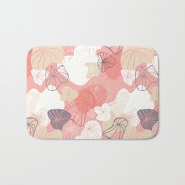 Large Abstract Dandelion Seeds Repeating Pattern on Orange Bath Mat