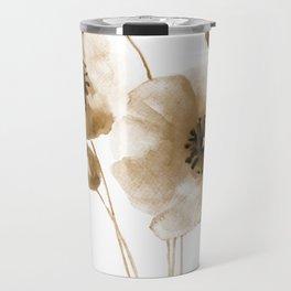 Beige poppy art print Travel Mug