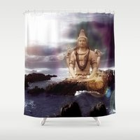 shiva Shower Curtains featuring Lord Shiva by Aurelaan
