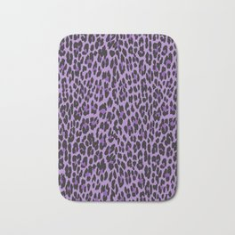 Animal Print, Spotted Leopard - Purple Black Bath Mat