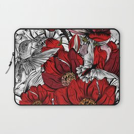 Boho Chic Red Poppy Flowers, Black and White Background Laptop Sleeve