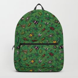 Bugs & Insects on Green Floral Background Backpack