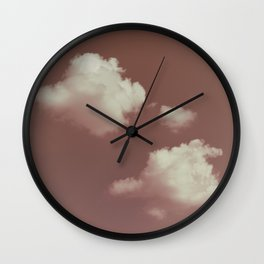 NEPHELAI SERIES Little clouds on dusty pink Wall Clock
