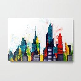 New York City Skyline Concept in Watercolors Metal Print