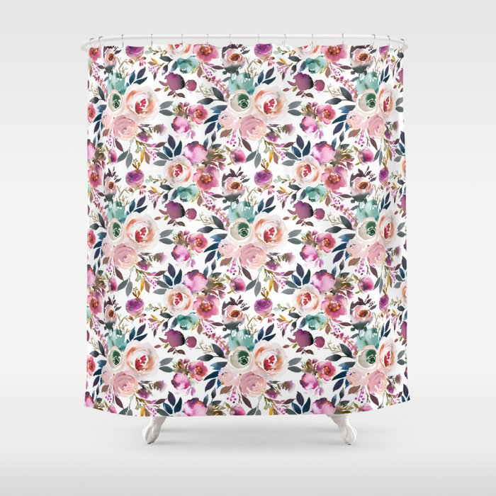 Hand Painted Blush Pink Purple Watercolor Floral Shower Curtain