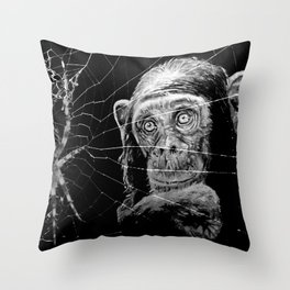 WATCHING THE SPIDER Throw Pillow