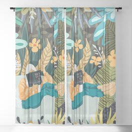How To Live In The Jungle #illustration #painting Sheer Curtain