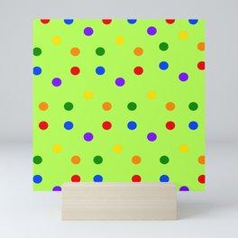 Playful Dots on kivi colored background Mini Art Print