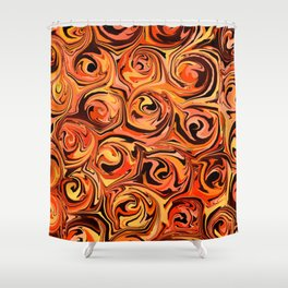 Honey Orange Fire Swirl Abstract Shower Curtain