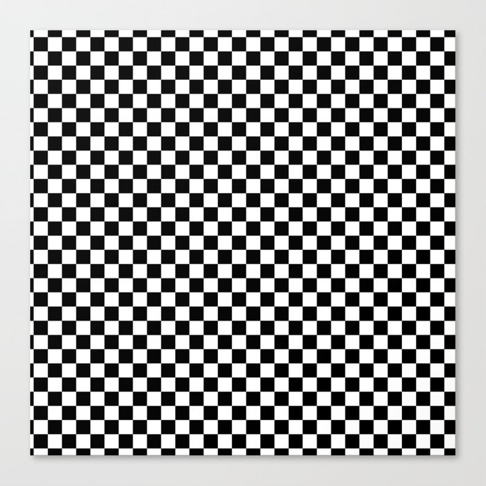 Classic Black and White Race Check Checkered Geometric Win Leinwanddruck