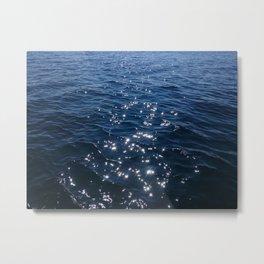Sparkly Deep Blue Sea Waves Metal Print