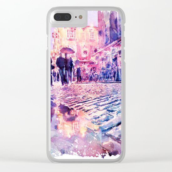 Dublin Watercolor Streetscape Clear iPhone Case
