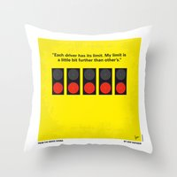 senna Throw Pillows featuring No075 My senna minimal movie poster by Chungkong