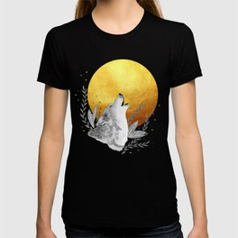 Grey wolf howling to gold moon T-shirt