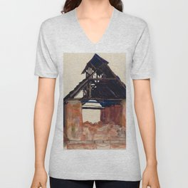 "Egon Schiele ""Old Gable"" Unisex V-Neck"
