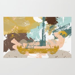 Suspicious Actions, Abstract Landscape Art Rug