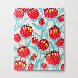 Bold Protea Flower Pattern - Red Yellow Green Metal Print
