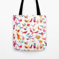 takmaj Tote Bags featuring Birds by takmaj