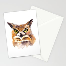 Owl Watercolor Stationery Cards