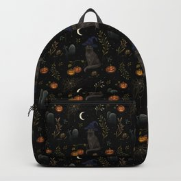 The Black Cat on Halloween Night Backpack
