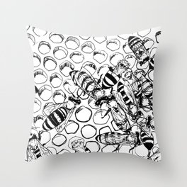 Teeming bees Throw Pillow