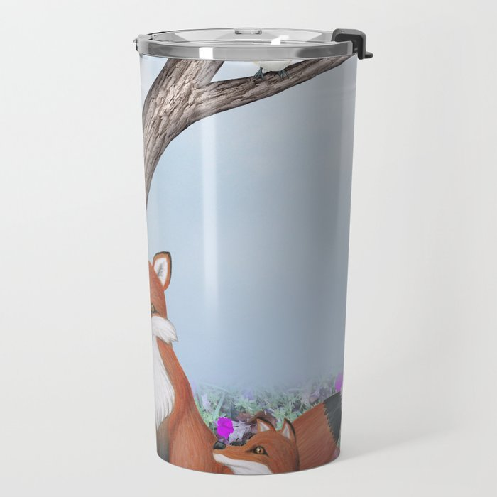 fox, cubs and tufted titmice Travel Mug