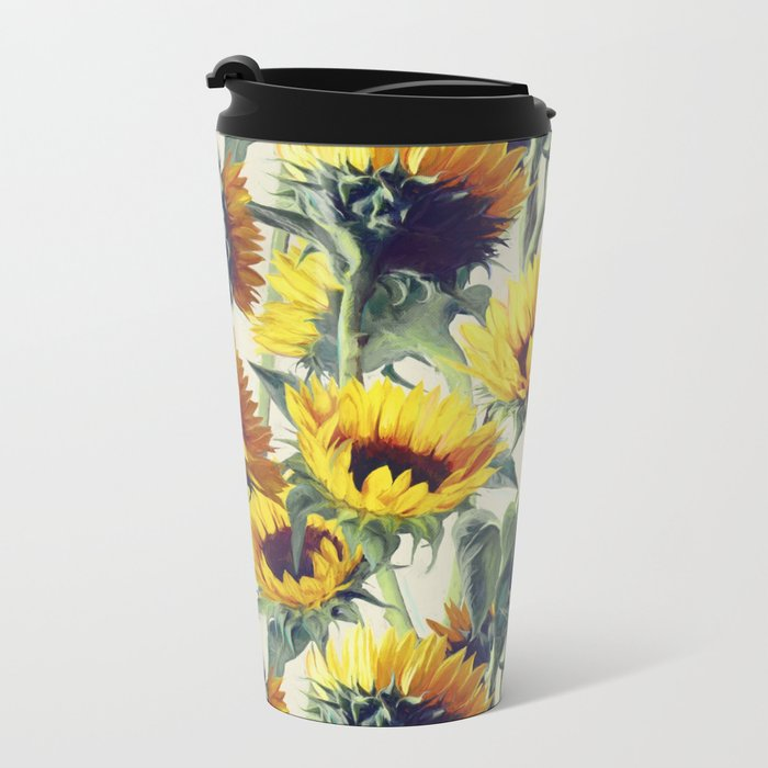 Sunflowers Forever Metal Travel Mug