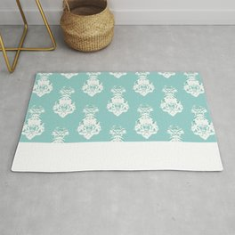 Seamless vintage pattern, white on green Rug