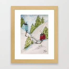 Neighbors in New England Framed Art Print