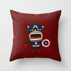 Screaming Captain America Throw Pillow