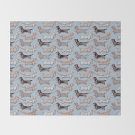 Origami Dachshunds sausage dogs // pale blue background Throw Blanket