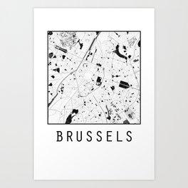 Brussels, Belgium, city map, Black on White design Art Print