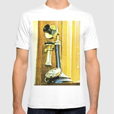 Ring, ring phone old. White MEDIUM Mens Fitted Tee