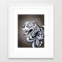 pit bull Framed Art Prints featuring Ornamental Pit Bull by Pretty In Ink