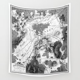Vintage Map of The Gettysburg Battlefield (1863)BW Wall Tapestry