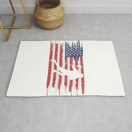 Lacrosse Player American Flag Rug