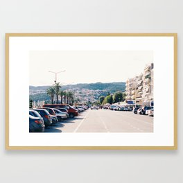 palm tree lined street Framed Art Print