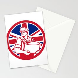 British Artisan Cheese Maker Union Jack Flag Icon Stationery Cards