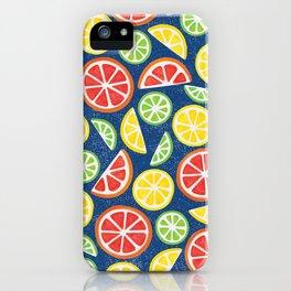 Vitamin C Super Boost - Citric Fruits on Blue iPhone Case