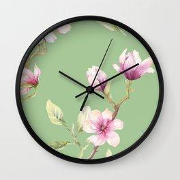 Magnolia Spring Pattern Wall Clock