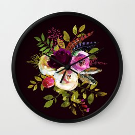 Moody Watercolor Roses on Dark Wall Clock