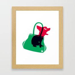 Angry animals: chihuahua - little green bag Framed Art Print