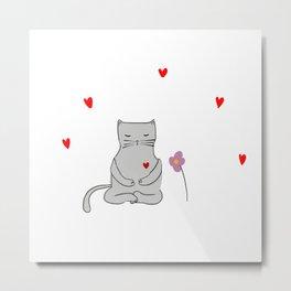 Meditation kitty cat Metal Print